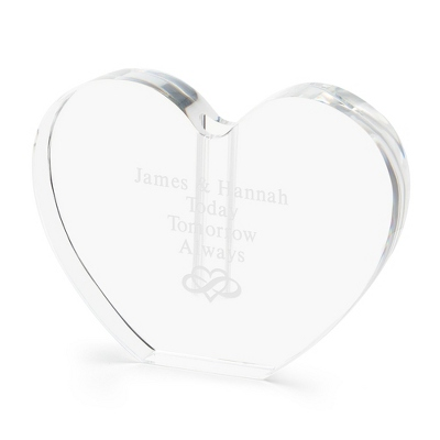 Engraved Heart Shaped Glass Vase - UPC 825008035256