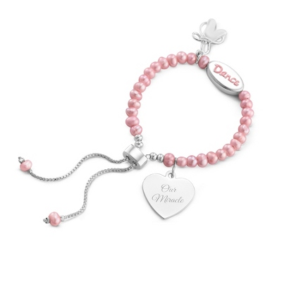 Girl's Pink Pearl Dance Bracelet with complimentary Filigree Heart Box - UPC 825008035645