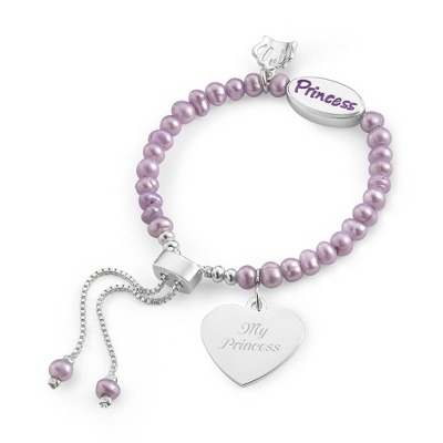 Girl's Purple Pearl Princess Bracelet with complimentary Filigree Heart Box
