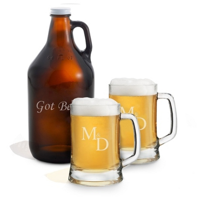 Milwaukee Growler Set with Personalized Pint Glasses