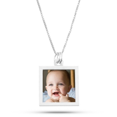 Sterling Silver Square Photo Necklace with complimentary Filigree Keepsake Box - UPC 825008036123