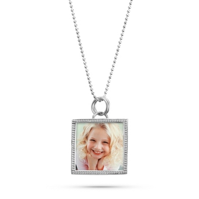 Sterling Silver Beaded Frame Necklace with complimentary Filigree Keepsake Box - Sterling Silver Necklaces