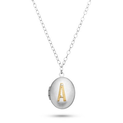 Letter A Engraved Two Tone Locket with Silver Finish with complimentary Filigree Keepsake Box