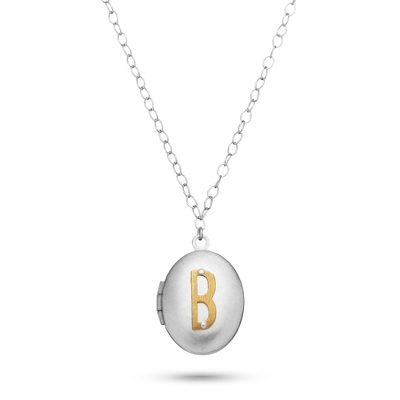 Letter B Engraved Two Tone Locket with Silver Finish with complimentary Filigree Keepsake Box