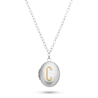Letter C Engraved Two Tone Locket with Silver Finish with complimentary Filigree Keepsake Box