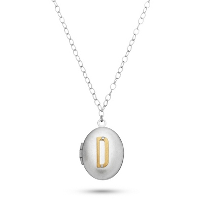 Letter D Engraved Two Tone Locket with Silver Finish with complimentary Filigree Keepsake Box
