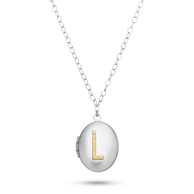 Letter L Engraved Two Tone Locket with Silver Finish with complimentary Filigree Keepsake Box - UPC 825008036307