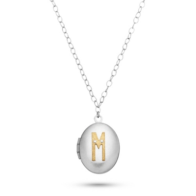 Letter M Engraved Two Tone Locket with Silver Finish with complimentary Filigree Keepsake Box - UPC 825008036314