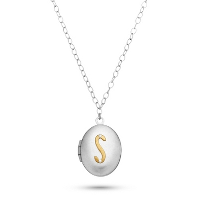 Letter S Engraved Two Tone Locket with Silver Finish with complimentary Filigree Keepsake Box
