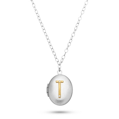 Letter T Engraved Two Tone Locket with Silver Finish with complimentary Filigree Keepsake Box