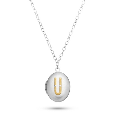 Letter U Engraved Two Tone Locket with Silver Finish with complimentary Filigree Keepsake Box