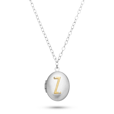 Letter Z Engraved Two Tone Locket with Silver Finish with complimentary Filigree Keepsake Box