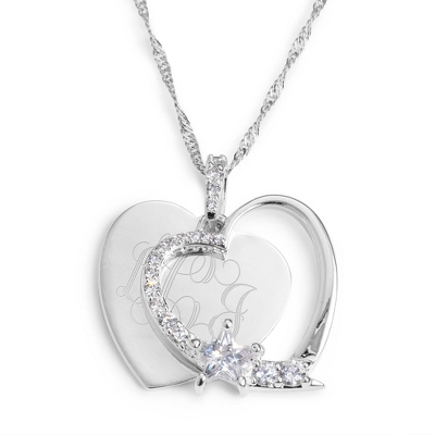 Personalized Heart & Star Necklace with Monogram