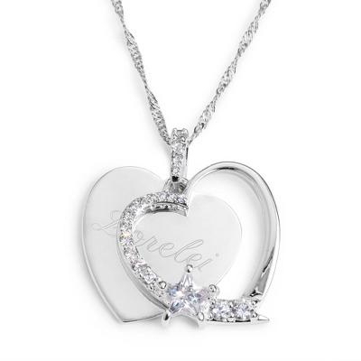 Personalized Heart & Star Necklace with Name