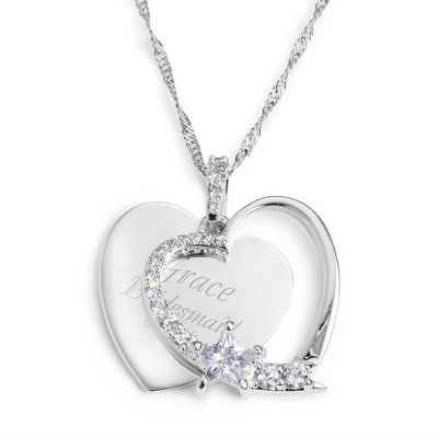 Personalized Heart & Star Necklace With Engraving - Option 1