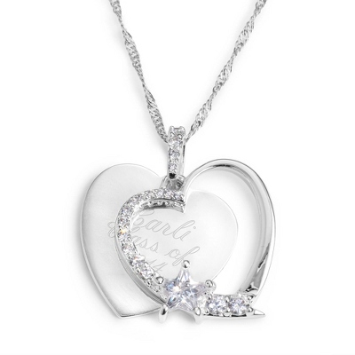 Personalized Heart & Star Necklace With Engraving - Option 2 - Fashion Necklaces
