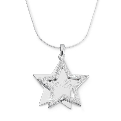 Personalized CZ Star Necklace with Name & Two Custom Lines