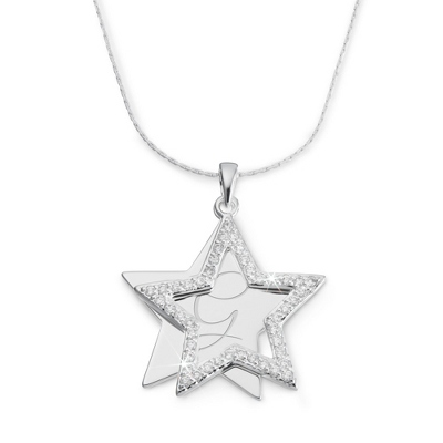 Personalized CZ Star Necklace - Letter & Two Custom Lines