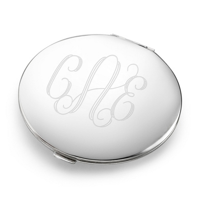 Personalized Silver Compact with Initials or Monogram - UPC 825008036970