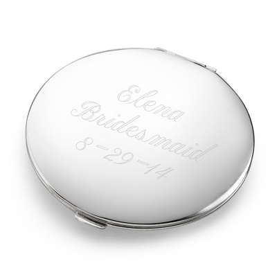 Personalized Silver Compact with Three Engraved Lines