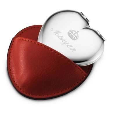 Engraved Heart Compact with Name and Crown Design