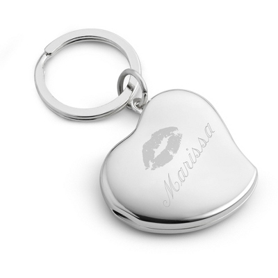 Engraved Heart Locket Key Chain with Name and Kiss Design