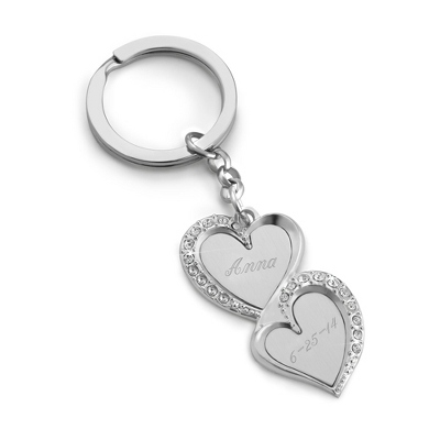 Double Heart Engraved Key Chain With Name And Date - Purse Accessories