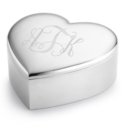 Personalized Heart Keepsake Box With Monogram - Wedding Helpers & Officiants