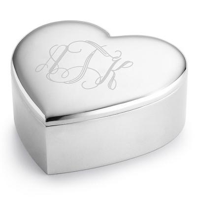 Personalized Heart Keepsake Box With Monogram