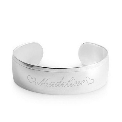 Engraved Medallion Bracelet - Name & Double Heart Design - $34.99