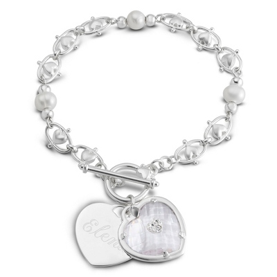 Pearl Bracelet with Engravable Charm