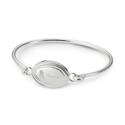 Personalized Oval Bangle with Name & Flower Design