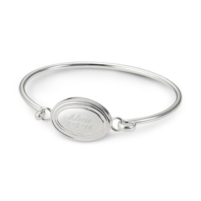Personalized Oval Bangle with Name & Date