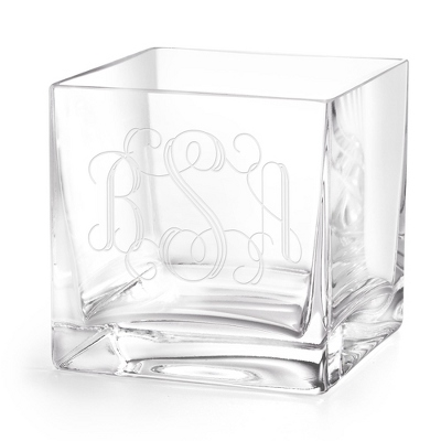 European Cube Engraved Glass Vase with Monogram