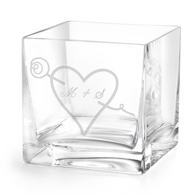 European Cube Engraved Glass Vase with Initials and Heart