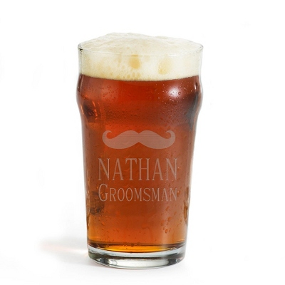 Personalized British Pint Glass With Mustache and Engraving