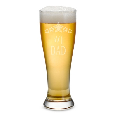 Engraved Pilsner Beer Glass - #1 Dad - $12.00