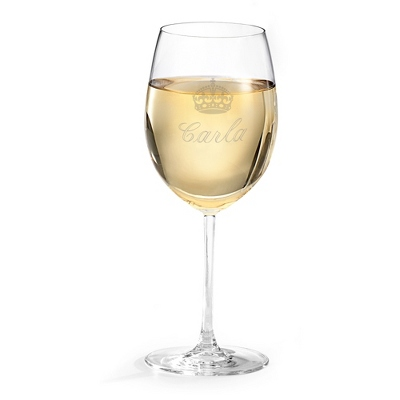 Personalized White Wine Glass with Name and Design
