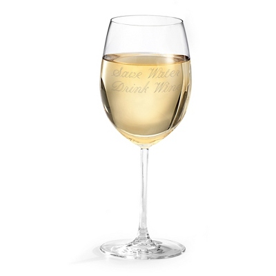 Personalized White Wine Glass With Two Lines of Engraving