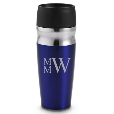 Personalized Blue Travel Mug with Monogram