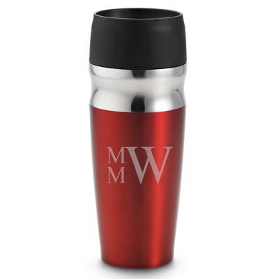 Personalized Red Travel Mug with Monogram