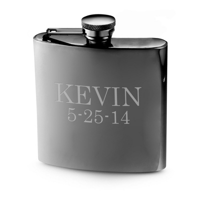Personalized Gunmetal Flask With Name And Date