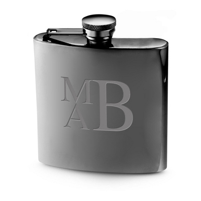 Personalized Gunmetal Flask with Monogram