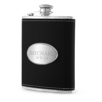 Personalized Black Leather Flask with Name and Date