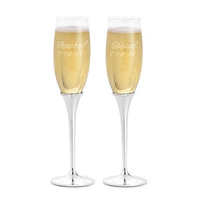 Engraved Princess Wedding Flutes with Name and Date