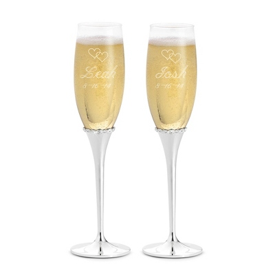 Engraved Princess Wedding Flutes with Name, Date and Design - $45.00