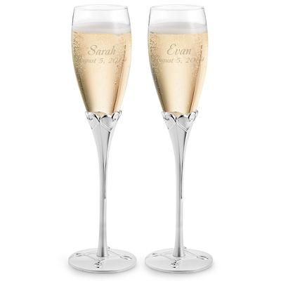 Engraved Everlasting Wedding Flutes with Name and Date - UPC 825008038936
