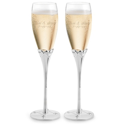 Engraved Everlasting Love Flutes with Two Personalized Lines