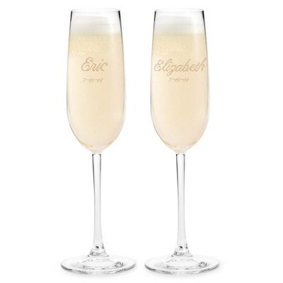 Engraved Wedding Champagne Flutes with Name and Date - Signature Flutes & Servers