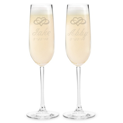 Engraved Wedding Champagne Flutes with Name, Date & Design - Signature Flutes & Servers
